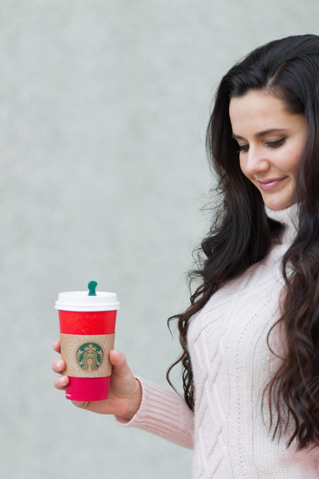 warm drink + cozy sweater