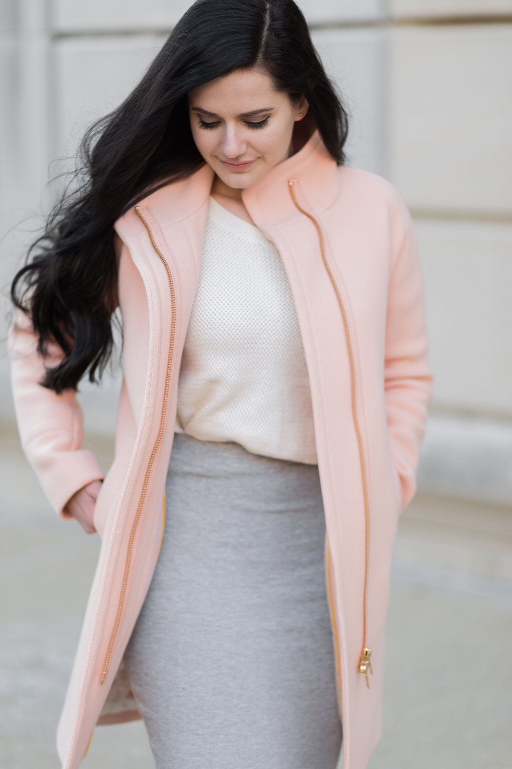 J. Crew Wool Cocoon Coat Peach