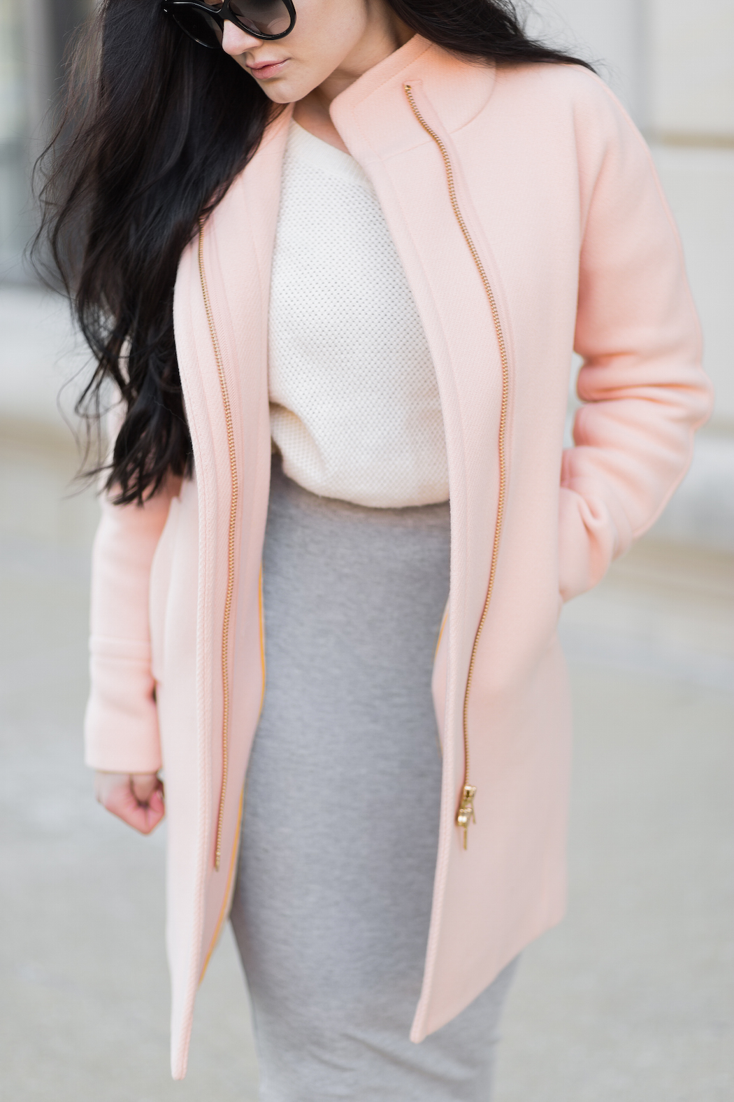 grey + cream + peach