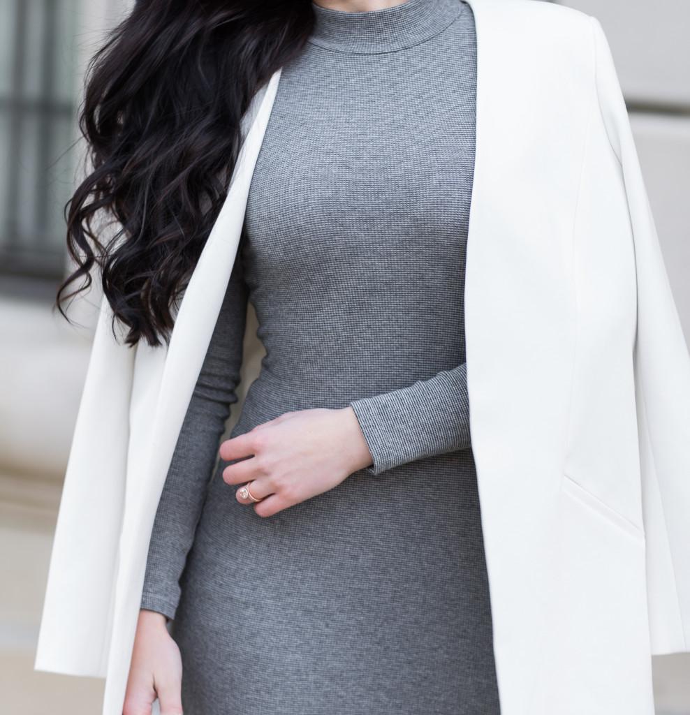 structured blazer + fitted dress