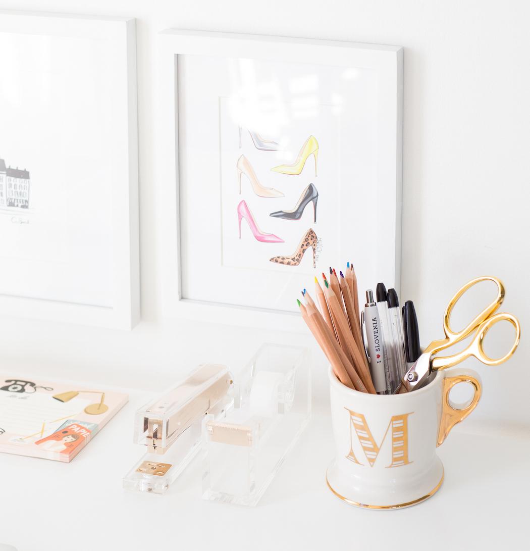 gold + white desk accessories