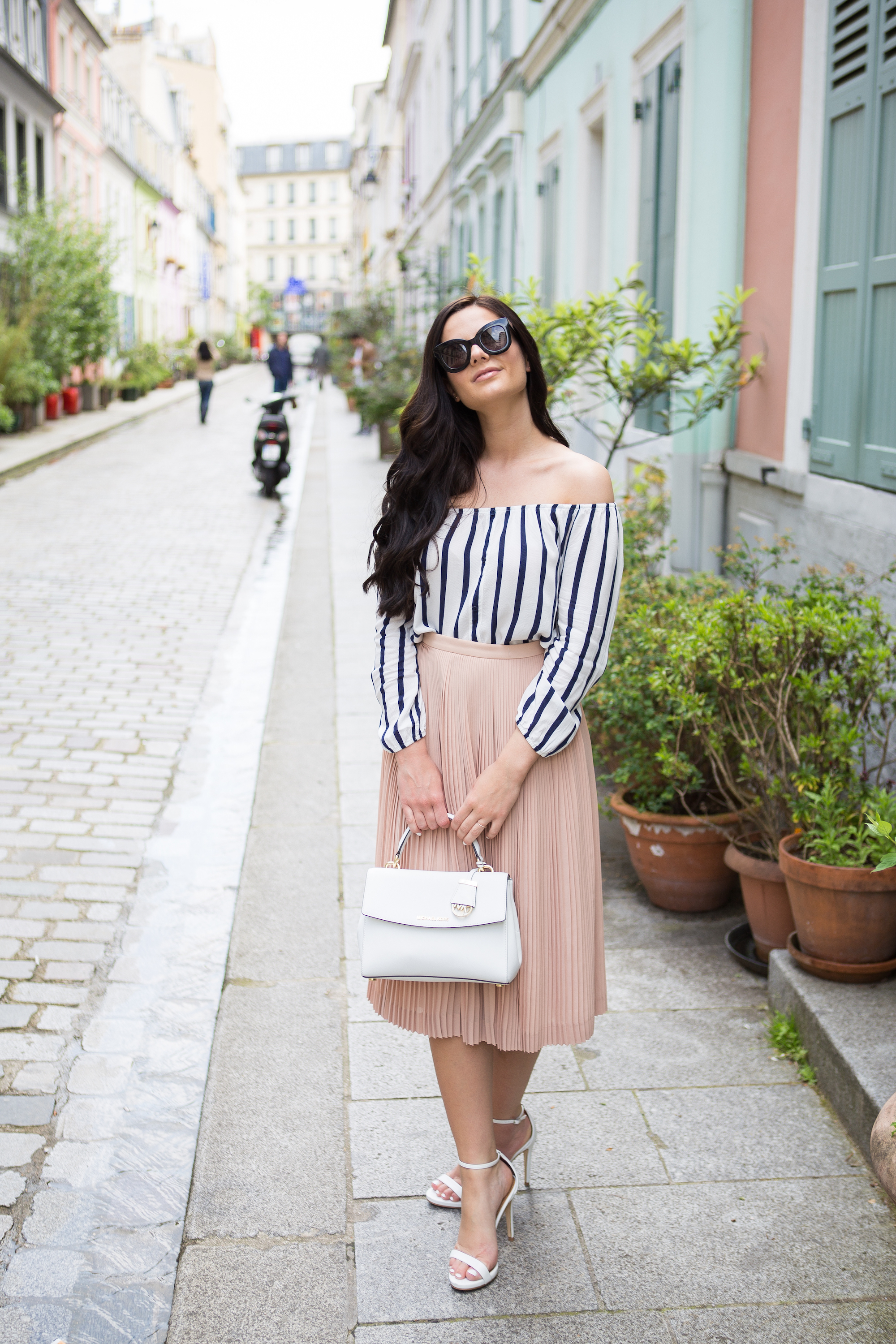 striped blouse + blush skirt