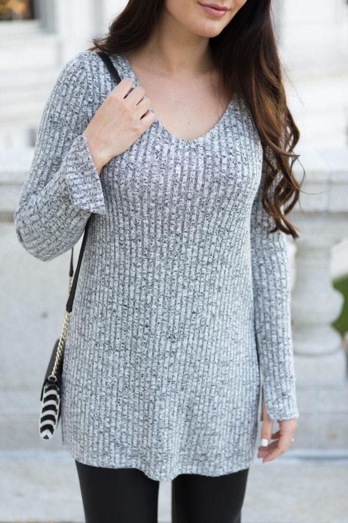 long knit + faux leather leggings