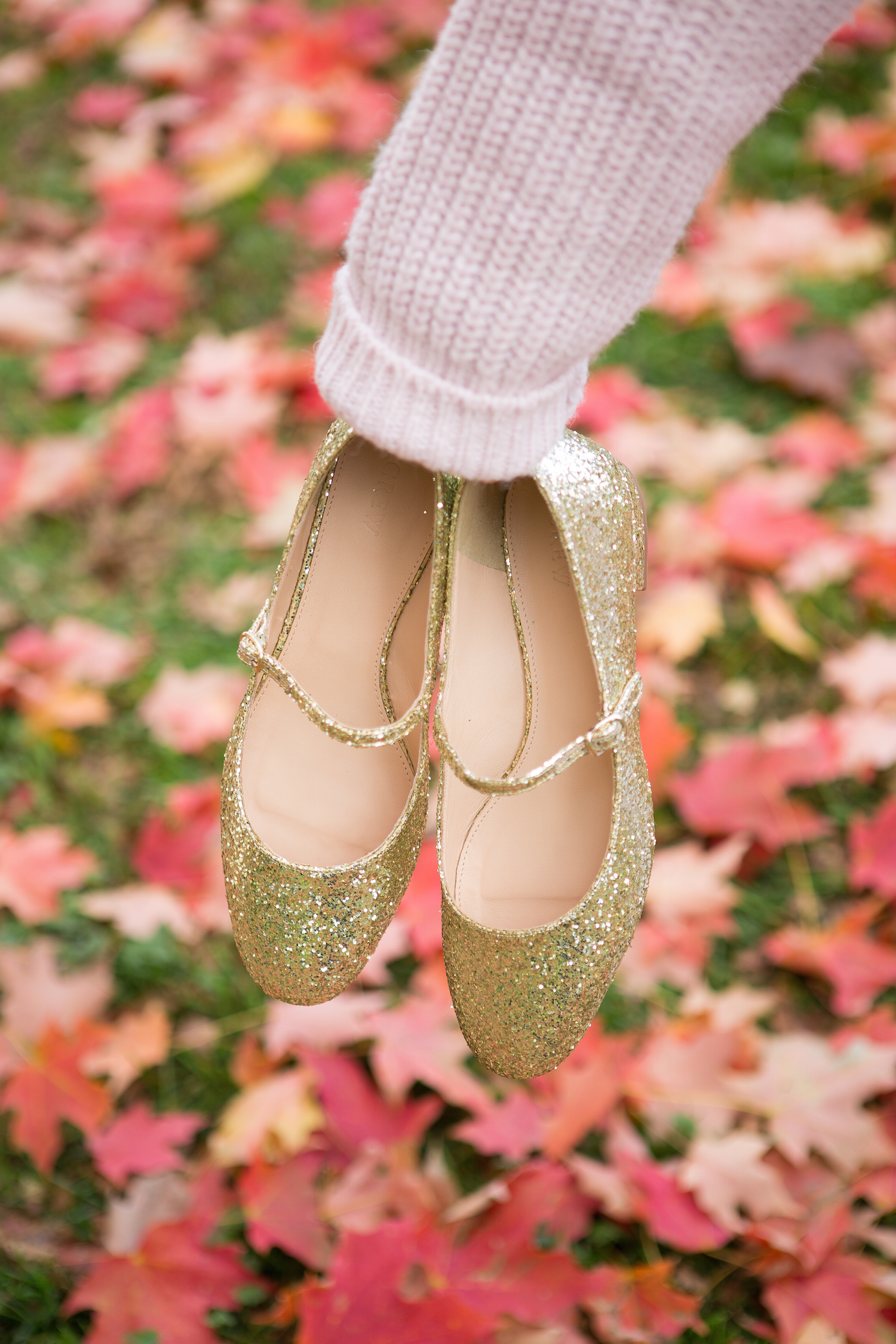 J. Crew Mary Jane Flats Gold Glitter
