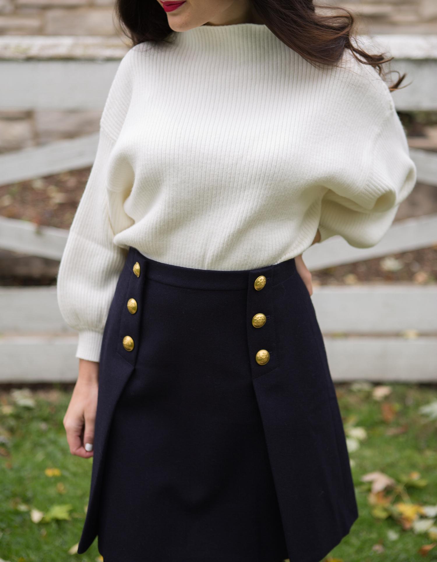 Line + Dot Balloon Sleeve Sweater