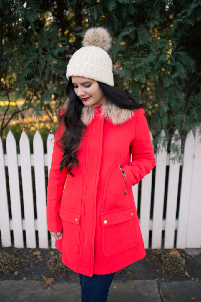 festive red coat